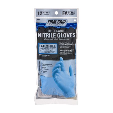 Firm Grip Pro Paint Disposable Nitrile Gloves Fits - 12 Count