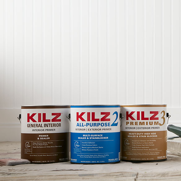Cans of KILZ® 2, Kilz 3 and Kilz General Primers